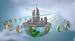 Urban world with euro. loop animation. Stock Footage