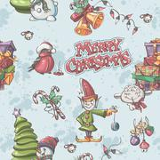 seamless texture to the christmas and new year with snowman, christmas tree, - stock illustration