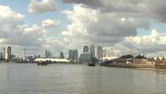 O2 Arena & Canary Wharf Long Shot Stock Footage