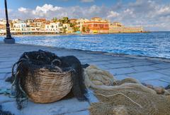 Fishing net in the port of Chania Stock Photos
