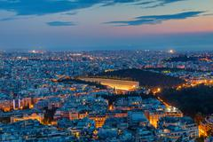 Athens with the old olympic stadium Stock Photos