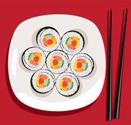 vector sushi on the plate and chopsticks - stock illustration
