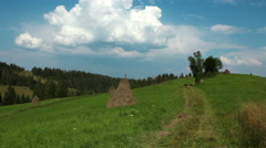 4K Timelapse of clouds and beautiful green meadow Stock Footage