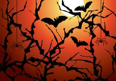 vector blackthorn branches, bats and spiders - stock illustration