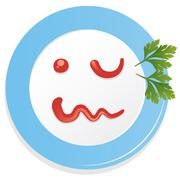 vector plate with ketchup smiley face - stock illustration