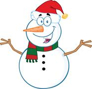 Snowman Cartoon Mascot Character With Open Arms Stock Illustration