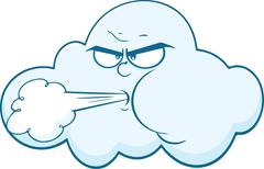Cloud With Face Blowing Wind Cartoon Character - stock illustration