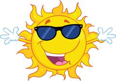 Happy Sun With Sunglasses And Open Arms - stock illustration
