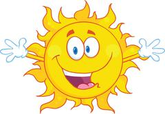 Happy Sun With Welcoming Open Arms - stock illustration