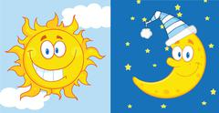 Sun And Moon Cartoon Characters - stock illustration