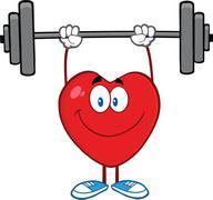 Smiling Heart Cartoon Mascot Character Lifting Weights Stock Illustration