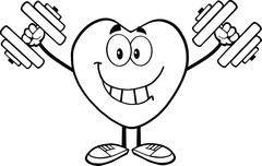 Black And White Happy Heart Cartoon Character Showing Muscle Arms - stock illustration