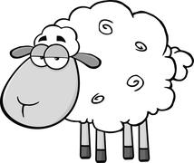 Stock Illustration of Cute Sheep Cartoon Mascot CharacterIn Gray Color