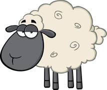 Cute Black Head Sheep Cartoon Mascot Character - stock illustration
