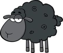 Cute Black Sheep Cartoon Mascot Character - stock illustration