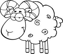 Black And White Cute Ram Sheep Cartoon Character - stock illustration