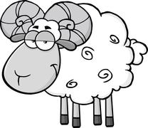 Cute Ram Sheep Cartoon Mascot Character In Gray Color - stock illustration