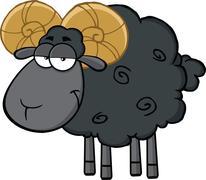 Black Ram Sheep Cartoon Mascot Character - stock illustration
