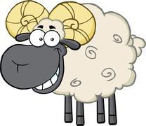 Black Head Ram Sheep Cartoon Mascot Character - stock illustration