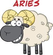 Smiling Black Head Ram Sheep Under Text Aries - stock illustration