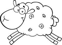 Black And White Sheep Cartoon Character Jumping Stock Illustration