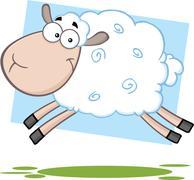 Funny Sheep Cartoon Character Jumping - stock illustration