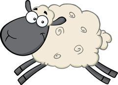 Black Head Sheep Cartoon Character Jumping - stock illustration
