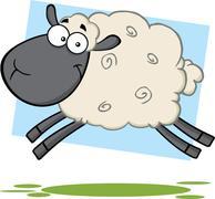 Funny Black Head Sheep Cartoon Character Jumping - stock illustration
