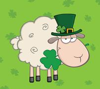 Irish Sheep Carrying A Clover In Its Mouth On A Green Background - stock illustration