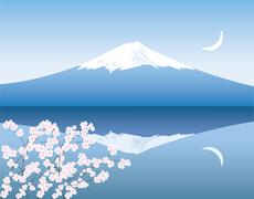Vector Mount Fuji, moon and branches of sakura Stock Illustration