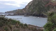 Coastline of seaside village Stock Footage
