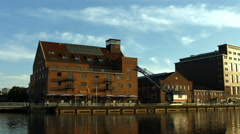 Duisburg inner harbour warehouses Stock Footage