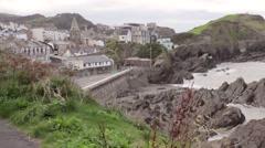 Seaside village with coastline Stock Footage