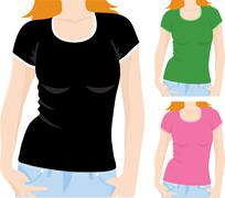 women's t-shirt template - stock illustration