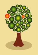 abstract fruit tree - stock illustration