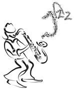 vector stylized saxophone and musician - stock illustration