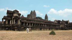 4K Timelapse: People in Angkor Wat temple in Cambodia Stock Footage