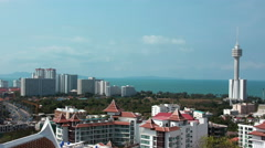 4K Timelapse panorama view of Pattaya city and Gulf of Siam, Thailand Stock Footage