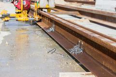 Boring holes in the rail Stock Photos