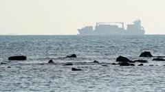 Cargo boat passing Dardanelles strait Stock Footage