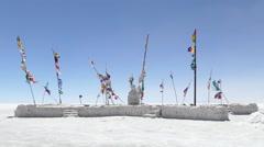 Blowing flags salt desert uyuni Stock Footage