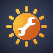Sun icon with a monkey wrench Stock Illustration