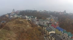 Aerial view of Kiev Podol from Castle Hill Stock Footage