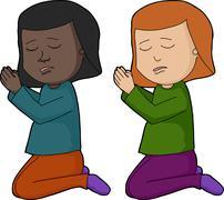 Girl Praying Stock Illustration