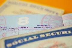 Closeup of us government resident legal documents Stock Photos