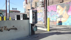 Mural Art With Pay Phone in Silver Lake, Los Angeles, CA Stock Footage