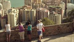People admire cityscape view in Malaga, Spain HD Stock Footage