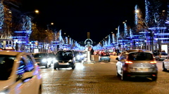 Paris, France, Avenue des Champs-Elysees decorated with Christmas illumination. Stock Footage