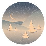 Night winter landscape - stock illustration