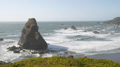 Otter Point, Southern Oregon coast (pan) Stock Footage